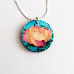 Jewelry - Handmade Colorful Rose Pendant Necklace - Believe